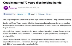 Till death do us part - Couple Die Holding Hands