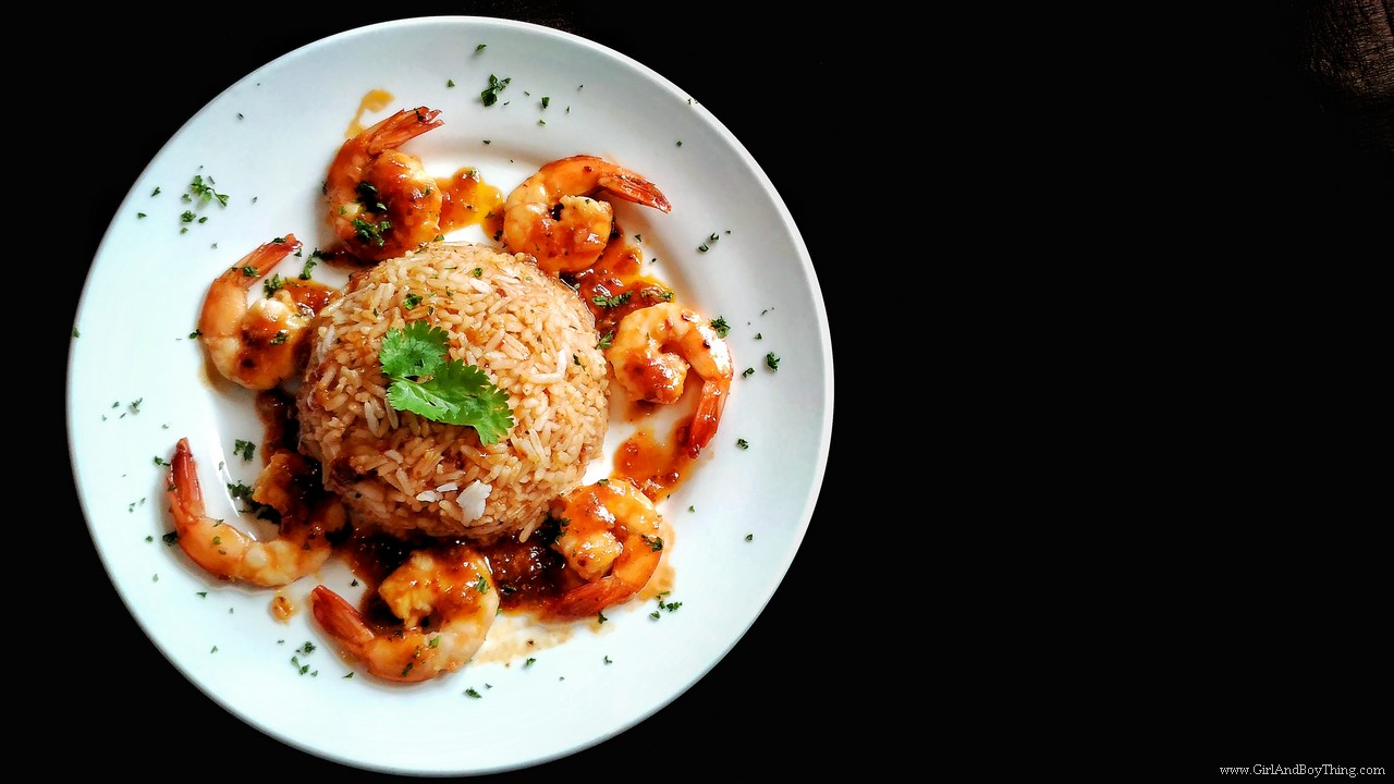 Vittorio's Sweet Chili Prawn with rice