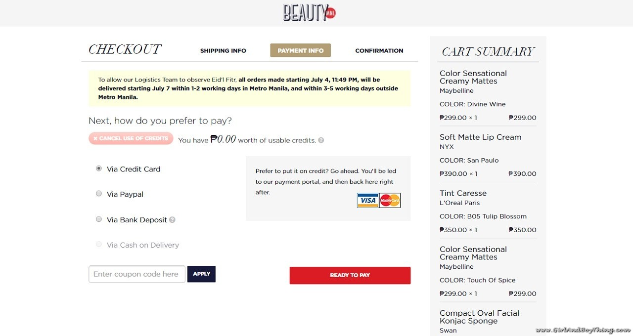 BeautyMNL Payment options