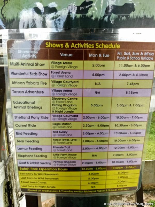 BUKIT GAMBANG SAFARI PARK Schedule of Activities