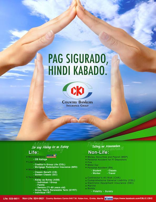 Get insured for as low as 1 Peso/day with Country Bankers