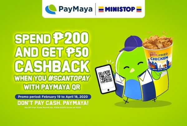 Go CASHLESS! Get P50 Cashback Using PayMaya QR in All Ministop Branches