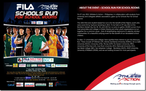 FILA and Athletes in Action's Advocacy Run in JULY 7, 2012