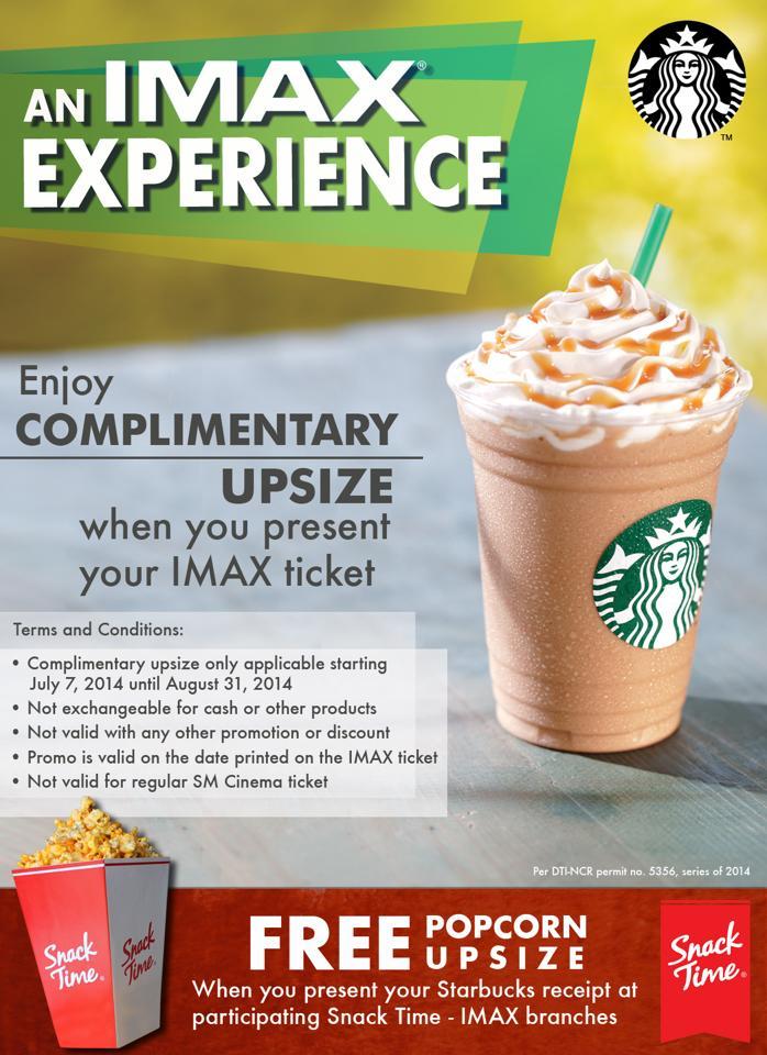 Heads Up!:  IMAX and Starbucks FREE UPSIZE Promo!