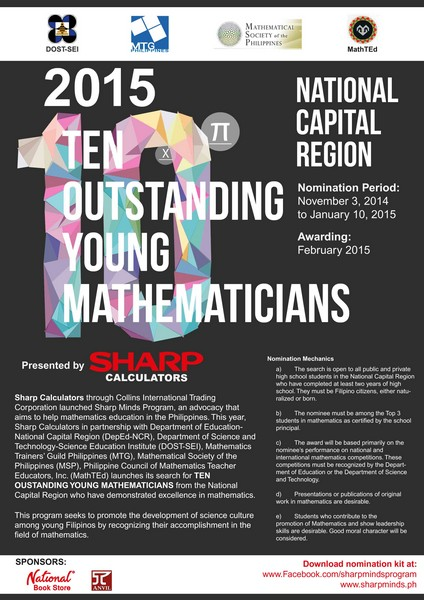 SHARP CALCULATORS Opens Nominations For The TEN OUTSTANDING YOUNG MATHEMATICIANS 2015