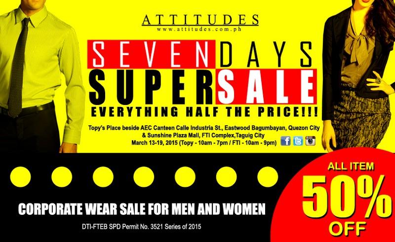 ATTITUDES APPAREL SEVEN DAYS SUPER SALE!!!