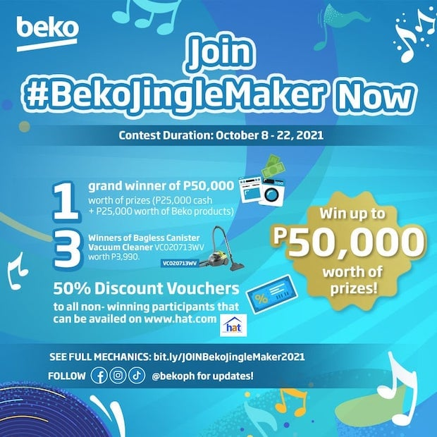 A Total of P50,000 Cash And Appliances Are At Stake When You Join BEKO JINGLE MAKERS Contest